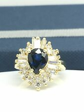 14k Yellow Gold Natural Sapphire Diamond Pear Shape Cocktail September Stone
