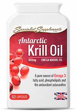 Antarctic Krill Oil 500mg 60 Capsules Omega 3 Fish Oils Antioxidants Astaxanthin