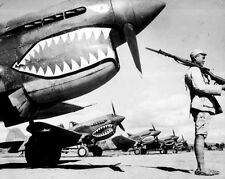 New 8x10 World War II Photo: Chinese Soldier Guarding P-40 Flying Tiger Fighters