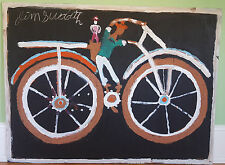 "BICYCLE WITH RIDER Original Mud Painting by JIMMIE LEE SUDDUTH - 36"" x 48"""
