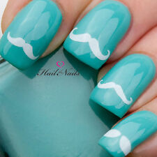 36 Moustache White Nail Art Water Transfers Decals Wraps Y079 Nails Stickers