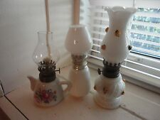 """VINTAGE White OIL LAMPS (LOT OF 3) 8"""" & 6"""" tall"""