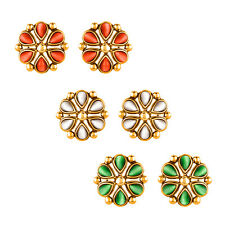 Mahi Combo of Republic Day Tricolour Gold Plated Stud Earrings CO1104424G