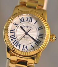 New Womens Invicta 21099 Angel Swiss White Textured Dial Gold Tone Steel Watch