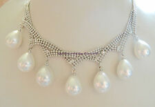 Rare New 12x16mm White Sea Shell Pearl Seven Star Necklace 17''