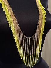 bcbg max azria Neon Yellow Gold Chain Fringe Necklace NWT