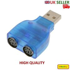 USB Male to 2 Port PS2 Female Converter Adapter For Mouse & Keyboard - UK SELLER