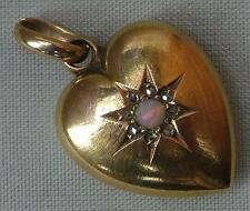 LOVELY ANTIQUE 15ct GOLD OPAL & DIAMOND HEART PENDANT / CHARM - CHESTER HALLMARK