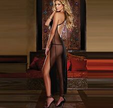 Lingerie +G-string Sleepwear Women's Black Babydoll Long Dress Hot Sale Sheer