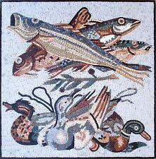 "32"" Handmade Art Tile Stone Sea Creatures Various Fish And Animals Marble Mosaic"