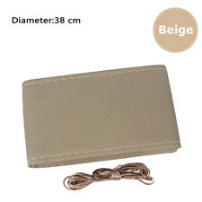 DIY Leather Car Truck Auto Steering Wheel Beige Cover With Needles And Thread