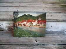 Small Old Original Oil Painting Of German Village Done On Canvas Panel, Unsigned