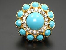 OUTRAGEOUSLY CHIC VINTAGE DIOR ERA FAUX TURQUOISE RHINESTONE STATEMENT RING sz 5