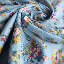 Blue Cotton Voile Floral Printed Dress Fabric in a vintage style - By The Metre