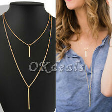 Women Pendant Gold Chain Choker Chunky Statement Bib Necklace Jewelry Charm Gift