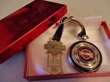 Vtg 2001 HARLEY DAVIDSON Franklin Mint POCKET WATCH Leather Strap METAL Tested!