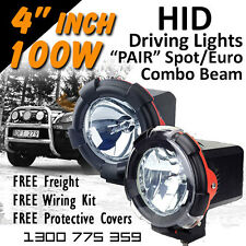 HID Xenon Driving Lights - Pair 4 Inch 100w Spot/Euro 4x4 4wd Off Road 12v 24v