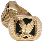 MEN Stainless Steel Black Onyx Gold/Black Eagle Wings Ring Size 8,9,10,11,12,13