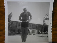 Vintage B&W Photograph Shirtless Man Muscles Bulge  Poolside Swimsuit 1960