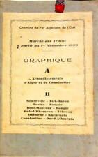 1930 CHEMINS DE FER ALGERIENS DE L'ETAT ALGER ET CONSTANTINE MARCHE DES TRAINS