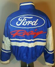 Vtg Ford Racing Jacket Men XL Nylon Satin Button Champions Nascar Coat 80's 90's