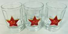 Russian Shot Glasses Set with Metal USSR Army Red Star Badges, 3x50 ml