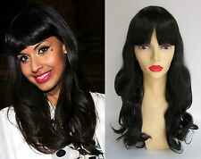 DELUXE JAMEELA LONG BLACK CURLY BLUNT FRINGE RETRO HIGH FASHION WIG