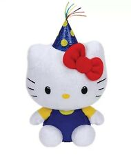 "TY BEANIE BABIES HELLO KITTY PARTY HAT WITH RED BOW6"" PLUSH STUFFED TOY"