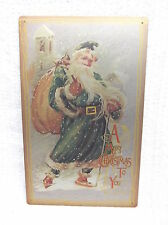 Merry Christmas SANTA Tin Metal Sign Decor Holiday Snow