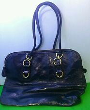 Merona Large Leather Shoulder Bag Tote Synthetic Leather Dark Blue Gold Hardware