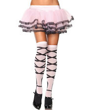BALLERINA PINK BALLET SOCKS OVERKNEE LEG AVENUE FAUX RIBBONS HARAJUKU STOCKINGS