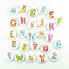 100 Mixed Colorful Letter Pattern 2 Holes Wood Sewing Buttons Scrapbooking 15mm