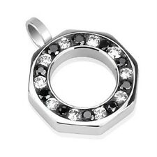 Stainless Steel Wheel of Black Clear CZ Combination Hollow Octagon Pendant P244