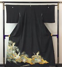 Vintage Japanese silk tomesode kimono, embroidered cranes, Japan import (J1088)