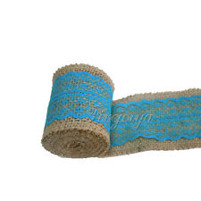 Turquoise 6cm x 2m Natural Hessian&Lace Burlap Ribbon Rusitc Wedding Wrapping