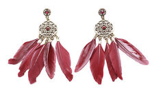 The Indian Tale- Intricate Carved Bronze Circle/deep Red Feather Earrings(Zx188)