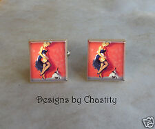 Pinup Scrabble Cuff Links Sexy Girl Altered Art Charms Blonde French Maid & Cat
