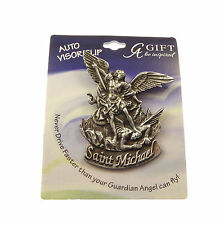 Christian Auto car visor clip St. Michael pewter 7cm Catholic safe journey gift