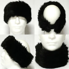 Fur Neck Wammer Fur Ear Wammer Fur Head Band Stretch Winter Thick Unisex  Black
