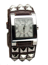 SAVIL: HEAVY LEATHER BIKER  METAL STUDS STYLE BAND LARGE CASE ANALOG WATCH