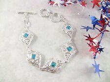 """Women's Bracelet Filigree Links w Sky Blue Topaz Silver-Toned 8-1/4"""" Or 7.5"""" L"""