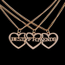 3 Pcs Gold Plated Heart Pendant Necklace Best Friends Necklaces Jewelry Gift