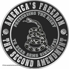 "America's Freedom The Second Amendment 12""  Metal Circle  Sign"