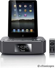 PHILIPS iPAD iPHONE iPOD DOCK DOCKING STATION SPEAKER w DUAL ALARM CLOCK AUX-IN