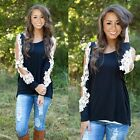 NEW Women Sexy Loose Lace Long Sleeve Casual Shirt Tops Blouse T-Shirt