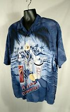 BIG DOGS Mens Lg Its Five O'Clock Somewhere Hawaiian Camp Shirt Rayon Button Up