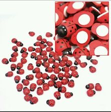 100 x Mini Red Wooden Craft Lady Birds Self Adhesive Stick on Ladybirds Ladybugs
