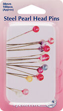 Nickel Steel Pearl Head Pins in Tin 38mm 100pcs - H669.PT