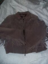 XOXO Brown Leather Suede Fringed Jacket Medium Perfect!