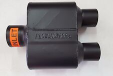 """SALE Flowmaster Super 10 Muffler 3"""" Single Inlet/2.5"""" Dual Outlet Stainless"""